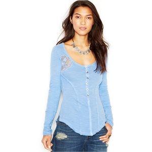 Free People Keepsake Henley Shirt Top Lace Trim